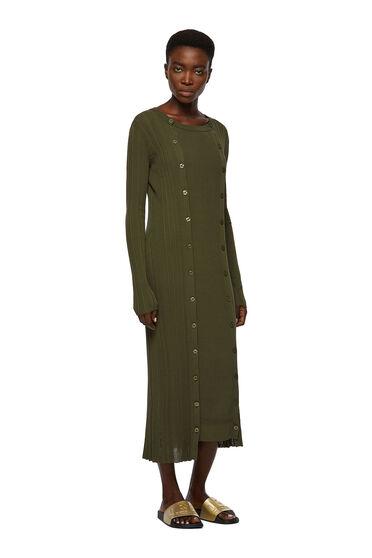 Langes, geripptes Kleid mit Knopfleisten