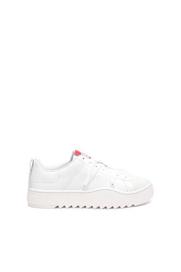 Leder-Sneakers mit Trekking-Schnürsenkeln