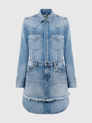 Hemdkleid im Western-Style aus Stonewash-Denim