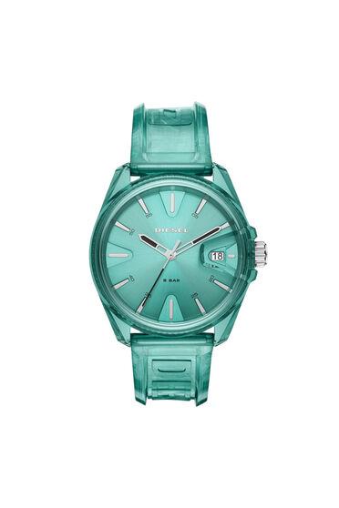 MS9-Armbanduhr mit drei Zeigern und transparent grünem Armband