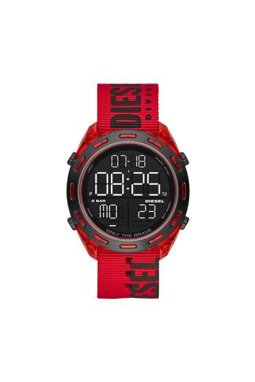 Crusher-Armbanduhr mit Digitalanzeige und rotem Nylonarmband