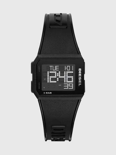 Chopped-Armbanduhr mit Digitalanzeige und schwarzem Armband