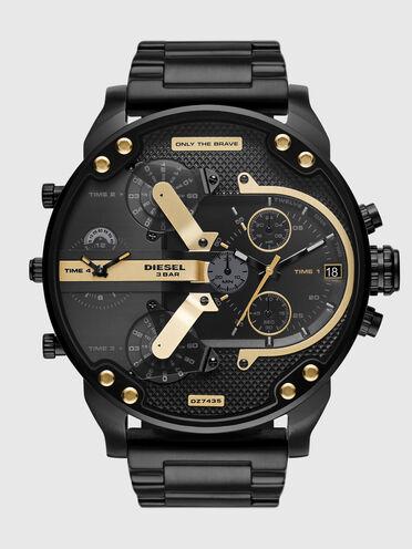 Mr.Daddy2.0-Armbanduhr mit Chronographen-Uhrwerk und schwarzem Edelstahlarmband