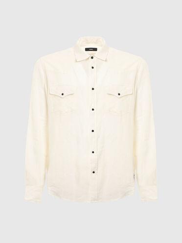 Stückgefärbtes Leinenhemd im Western-Stil