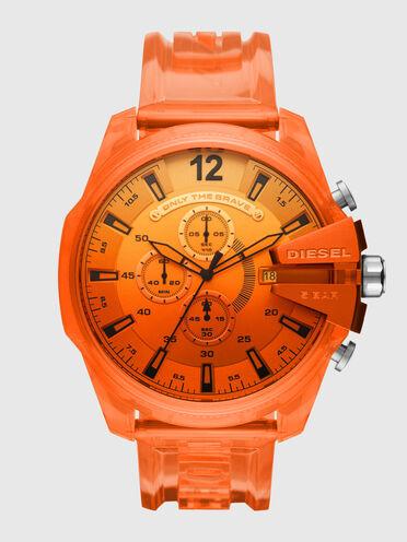 Orangefarbene Mega Chief-Armbanduhr aus Polyurethan mit Chronograph-Anzeige
