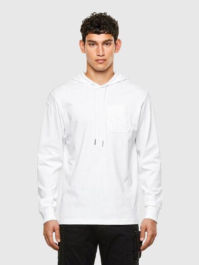 Diesel - T-FONTAL-LS-HOOD, Weiß - T-Shirts - Image 1
