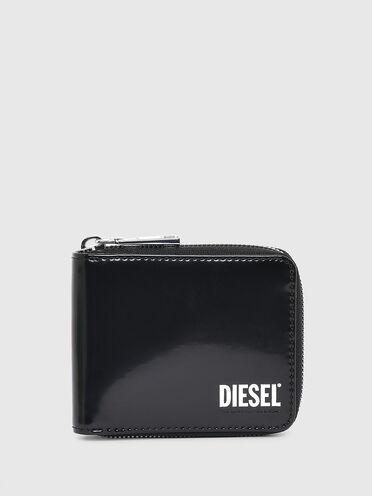 Portemonnaie aus hochglänzendem Leder mit umlaufendem Reißverschluss
