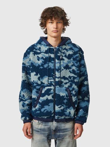 Camouflage-Teddyjacke mit gesteppter Rückseite