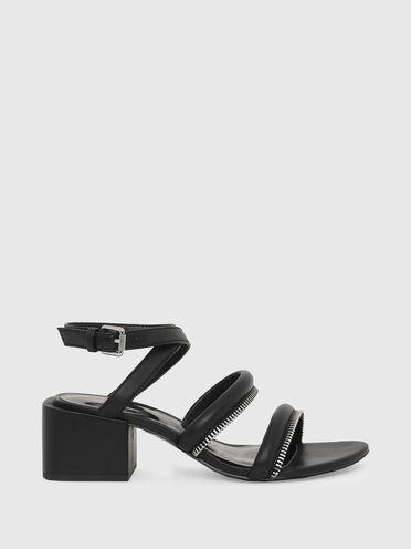 Halbhohe Sandaletten mit Reißverschlussdetail
