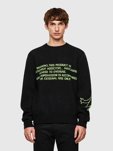 Jacquard-Pullover aus Wollmischgewebe