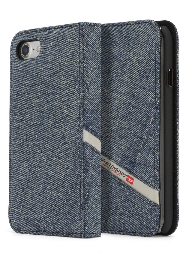 Diesel - DENIM IPHONE 8 PLUS/7 PLUS FOLIO, Jeansblau - Klappcover - Image 3