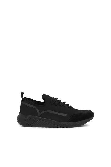 Einfarbige Sneaker mit Kontrastdetail