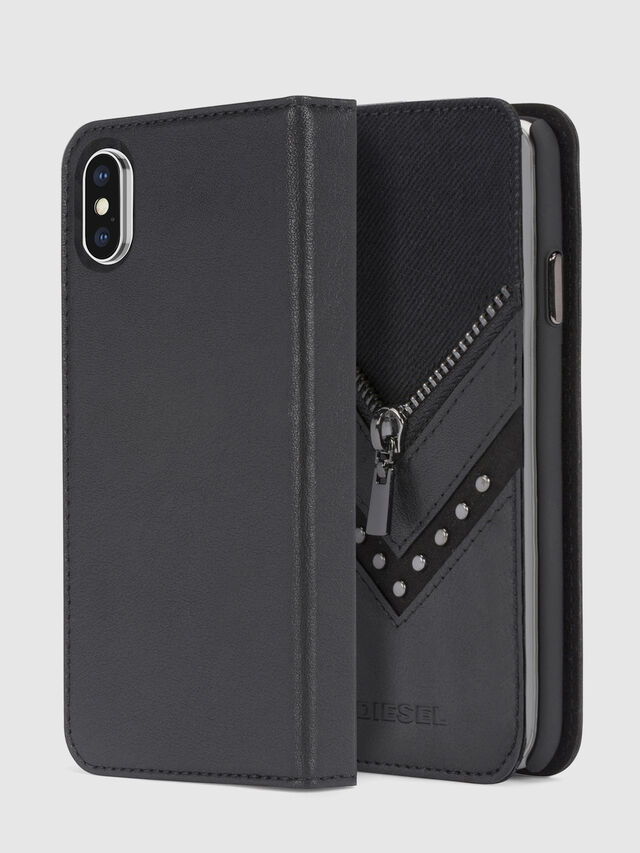 Diesel BLACK DENIM/STUD/ZIPPER IPHONE X FOLIO, Schwarz - Klappcover - Image 1