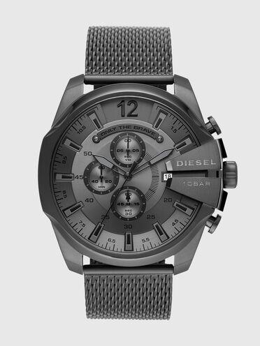 Mega Chief-Armbanduhr mit Chronograph-Anzeige und metallgrauem Edelstahlarmband