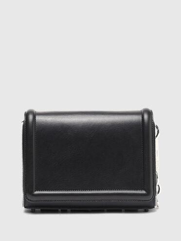 Crossbody-Tasche aus Leder mit Reißverschlussbesatz