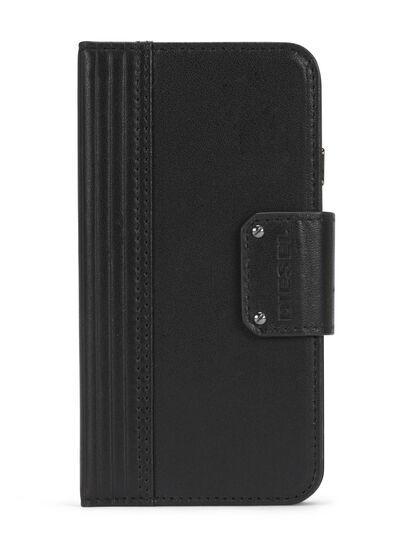 Diesel - BLACK LINED LEATHER IPHONE 8 PLUS/7 PLUS FOLIO, Schwarz - Klappcover - Image 1
