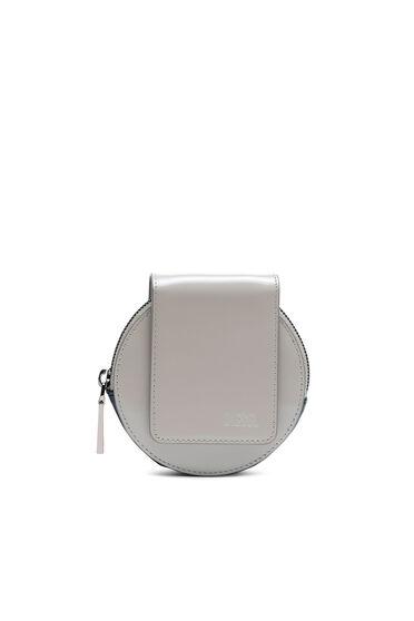 Rundes Mini-Taschenportemonnaie aus Hochglanzleder