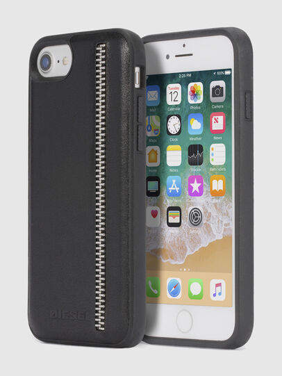 Diesel - ZIP BLACK LEATHER IPHONE 8 PLUS/7 PLUS/6s PLUS/6 PLUS CASE, Schwarz - Schutzhüllen - Image 1