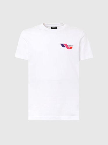 T-Shirt mit Diesel-Logo in Colour-Blocking-Optik