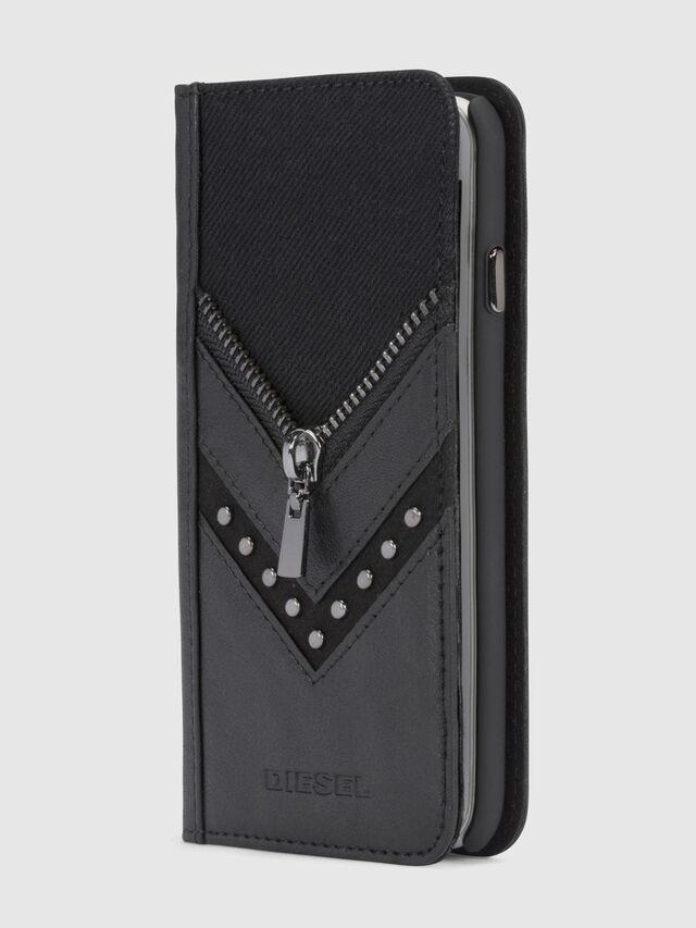 Diesel BLACK DENIM/STUD/ZIPPER IPHONE 8/7 FOLIO, Schwarz - Klappcover - Image 1