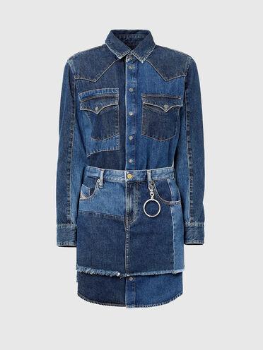 Hemdkleid im Western-Look aus Patchwork-Denim