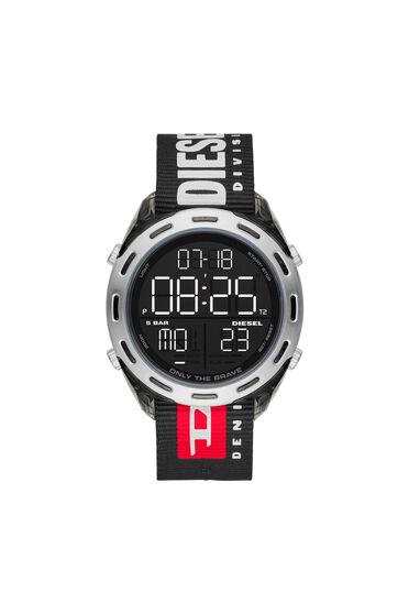 Crusher-Armbanduhr mit Digitalanzeige und schwarzem Nylonarmband