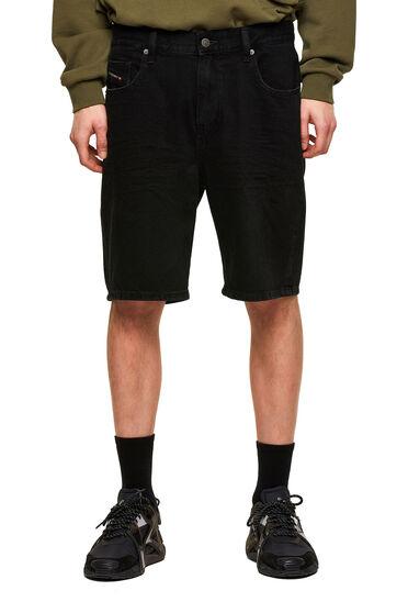 Shorts im Slim Fit aus einfarbigem festem Denim