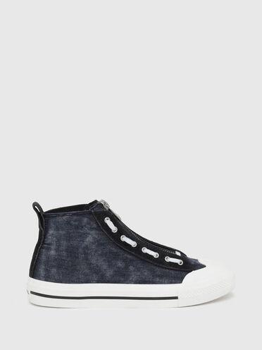 High Top-Sneakers aus Denim und Wildleder