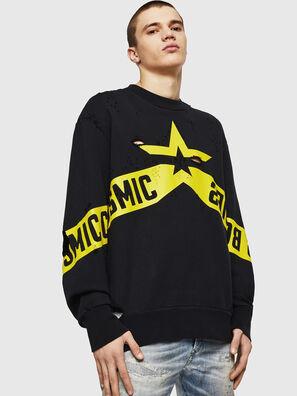 S-BAY-HOLES, Schwarz/Gelb - Sweatshirts