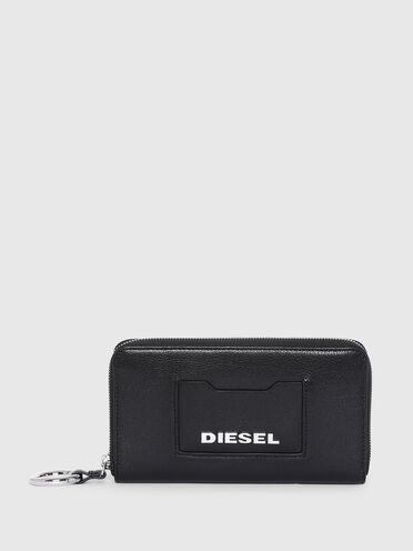 Portemonnaie aus reinem Leder mit umlaufendem Reißverschluss