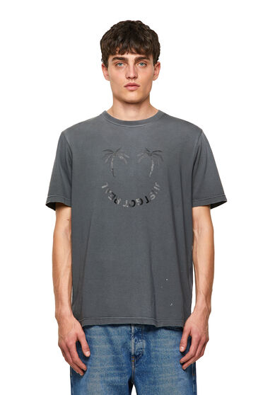 Verwaschenes T-Shirt mit Palmenprint