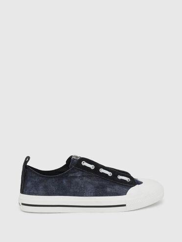 Low Top-Sneakers aus Denim und Wildleder