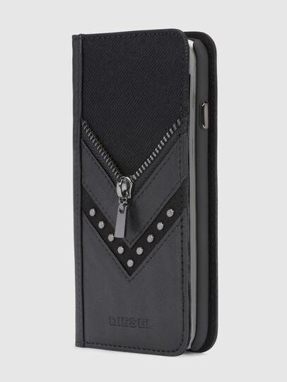 Diesel - BLACK DENIM/STUD/ZIPPER IPHONE 8/7 FOLIO, Schwarz - Klappcover - Image 1