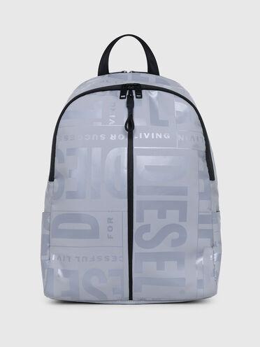 Rucksack mit zwei Reißverschlüssen und farblich abgestimmtem Logo