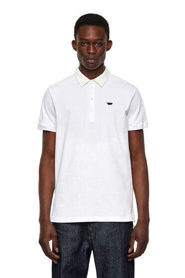 Poloshirt mit Denim-Kragen