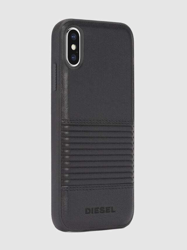 Diesel - BLACK LINED LEATHER IPHONE X CASE, Lederschwarz - Schutzhüllen - Image 5