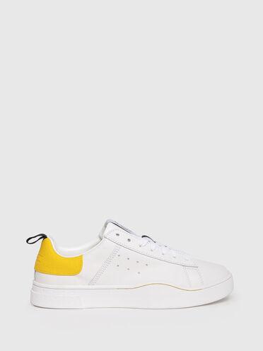 Sneaker aus Leder und Fersenpanel mit Label und Zugschlaufe