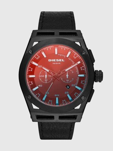 Timeframe-Armbanduhr mit Chronographen-Uhrwerk und schwarzem Lederarmband