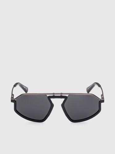 Geometrische Sonnenbrille aus Metall und Spritzguss