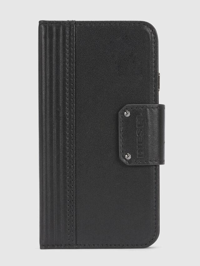Diesel - BLACK LINED LEATHER IPHONE 8/7 FOLIO, Schwarz - Klappcover - Image 3