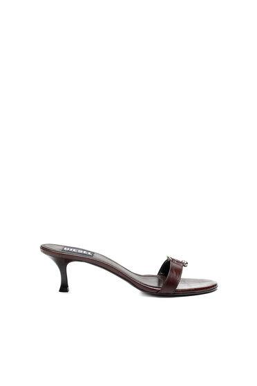 Sandalen aus Leder mit Kroko-Prägung