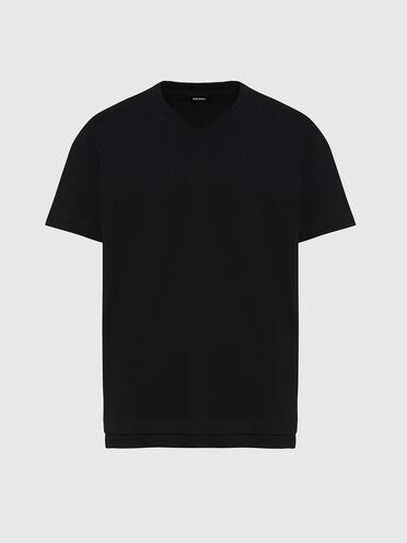 T-Shirt mit V-Ausschnitt und doppeltem Saum