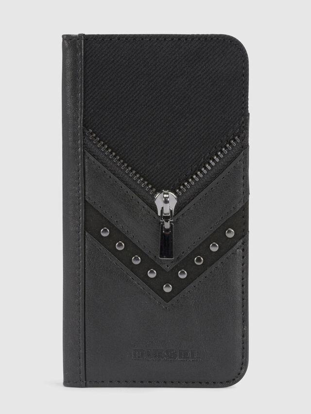 Diesel - BLACK DENIM/STUD/ZIPPER IPHONE X FOLIO, Schwarz - Klappcover - Image 2