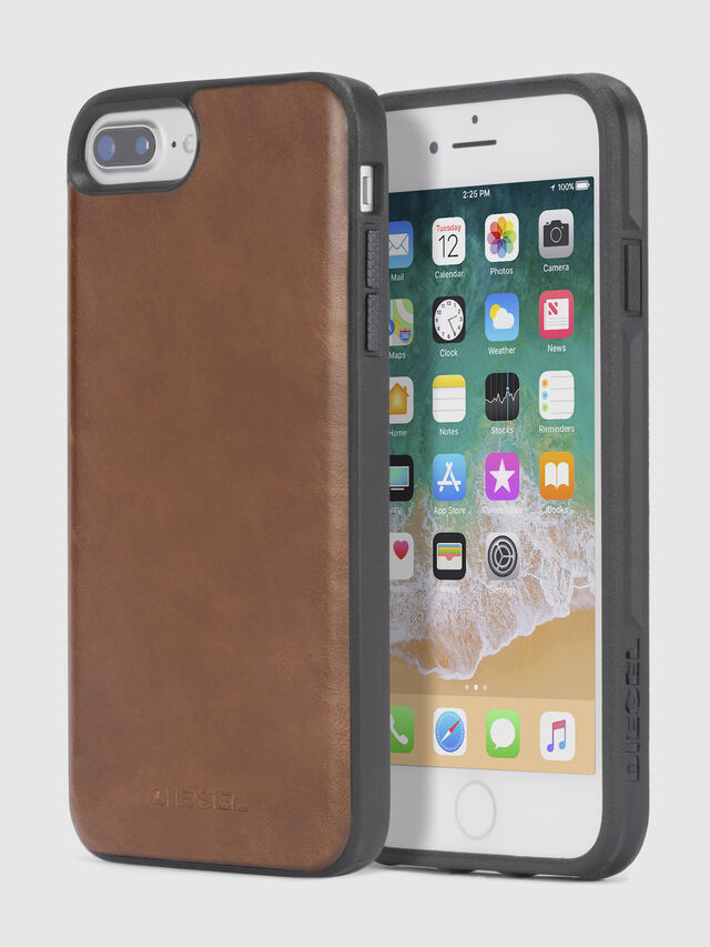 Diesel BROWN LEATHER IPHONE X CASE, Braun - Schutzhüllen - Image 1