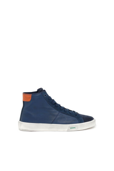 High Top-Sneakers aus gewalktem Leder