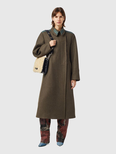 Military-Mantel aus Wollfilzmischgewebe