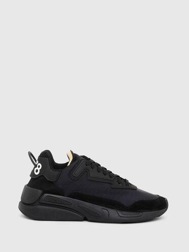 Einfarbige Sneaker aus Nylon und Wildleder