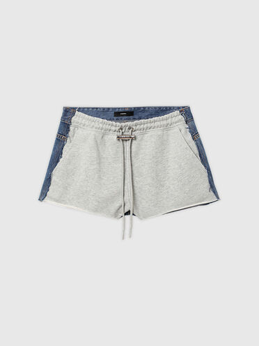 Hybrid-Shorts aus Denim und Sweatshirtstoff