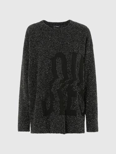 Pullover mit Metallic-Akzenten und Logo im Intarsienstrick