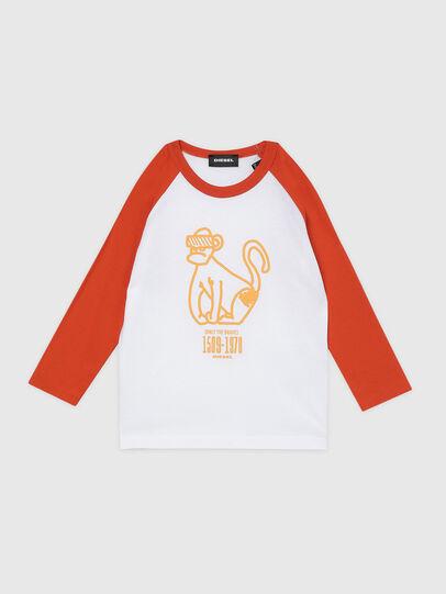 Diesel - TBALYB-R, Weiss/Orange - T-Shirts und Tops - Image 1